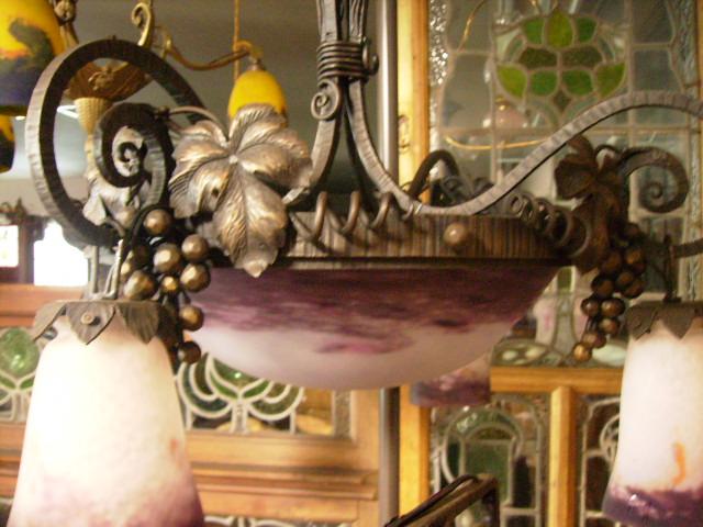 アールヌーボー様式 ハンギングランプ 大1灯+小4灯 デュゲ,アンティーク 照明,シャンデリア・ハンギングランプ