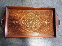 トレー 木製(真鍮の象嵌)