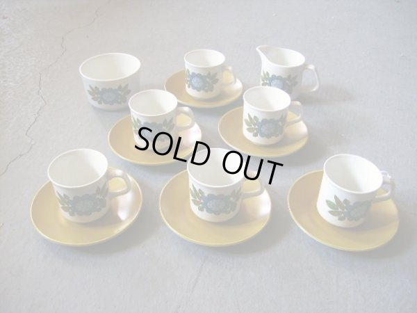 画像1: J&G Meakin(ミーキン) STUDIO コーヒーカップセット カップ&ソーサー6客・シュガーボール・ミルクジャー
