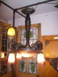 画像1: アールヌーボー様式 ハンギングランプ 大1灯+小4灯 デュゲ (1)