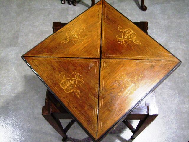 ゲームテーブル(折りたたみ式・象嵌)を折りたたんだ時の象嵌の面