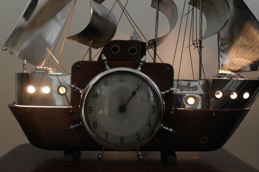 画像4: 英国 Metamec(メタメック)社製時計 帆船 電気付