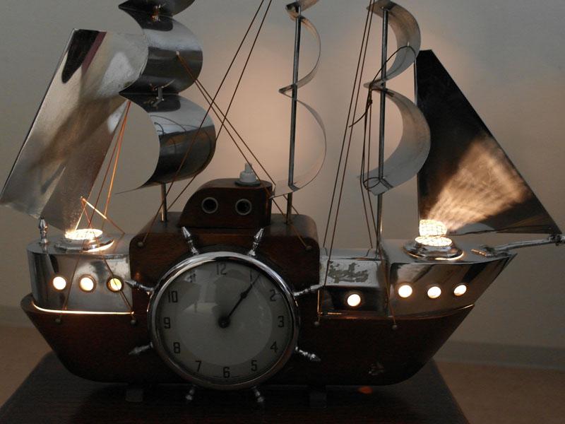 画像3: 英国 Metamec(メタメック)社製時計 帆船 電気付