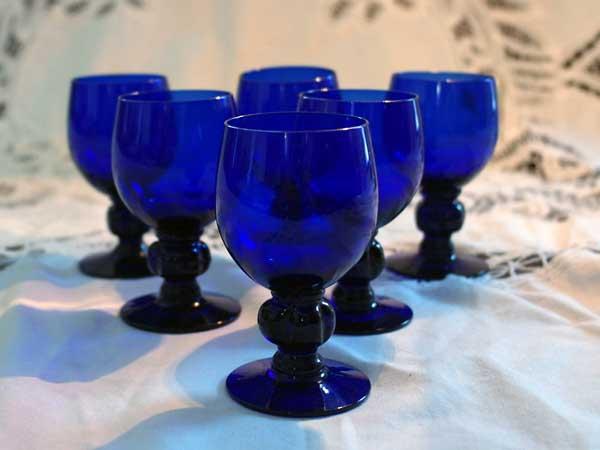 画像1: グラス シェリーグラス ブルー 小(6個)セット