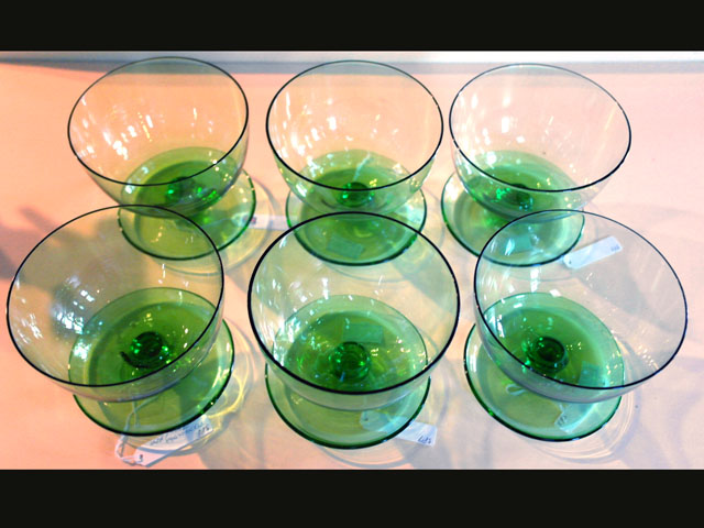 画像1: アイスクリームグラス グリーン (6個セット)