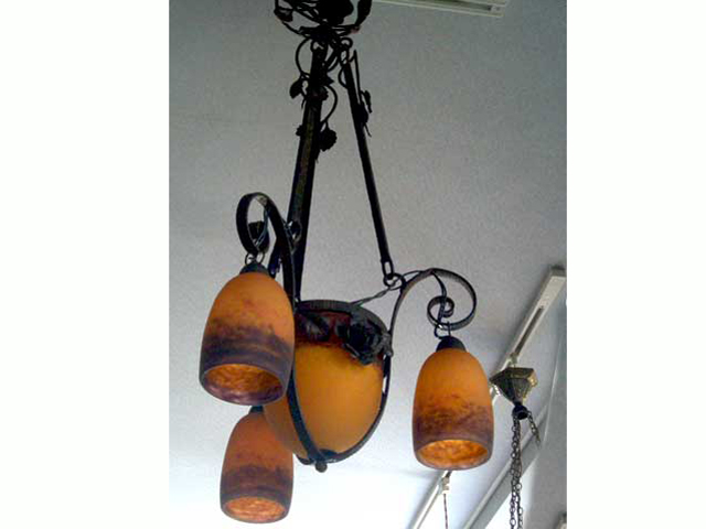 画像1: アールヌーボー様式 シャンデリア小3灯+大1灯 デュゲ DEGUE