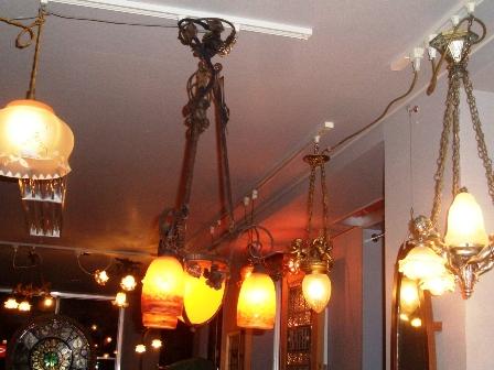 画像2: アールヌーボー様式 シャンデリア小3灯+大1灯 デュゲ DEGUE