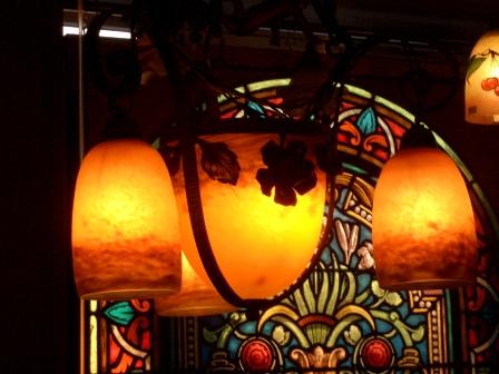 画像3: アールヌーボー様式 シャンデリア小3灯+大1灯 デュゲ DEGUE