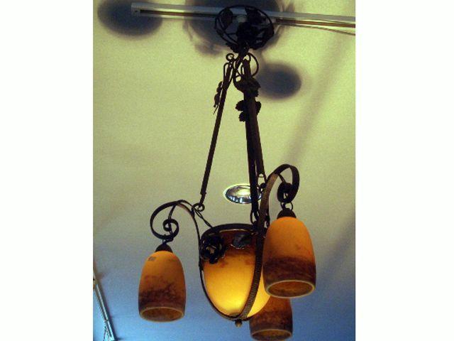 画像4: アールヌーボー様式 シャンデリア小3灯+大1灯 デュゲ DEGUE