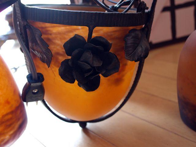 画像5: アールヌーボー様式 シャンデリア小3灯+大1灯 デュゲ DEGUE