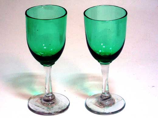画像1: ワイングラス グリーン ペア(2個)