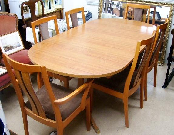 画像1: Schreiberシュエイバー製ミッドセンチュリー ダイニングテーブル(伸長式)+チェアー6脚セット