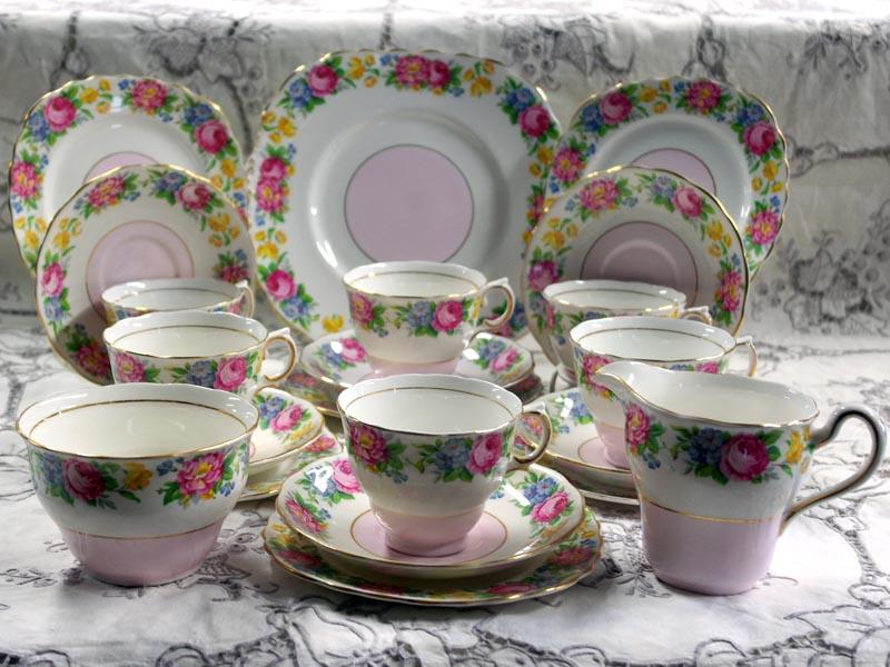 画像1: コルクラフColclough トリオ6客+シュガーボール+ミルクジャー+ケーキ皿