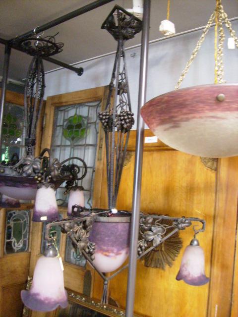 画像1: アールヌーボー様式 ハンギングランプ 大1灯&小3灯 デュゲ