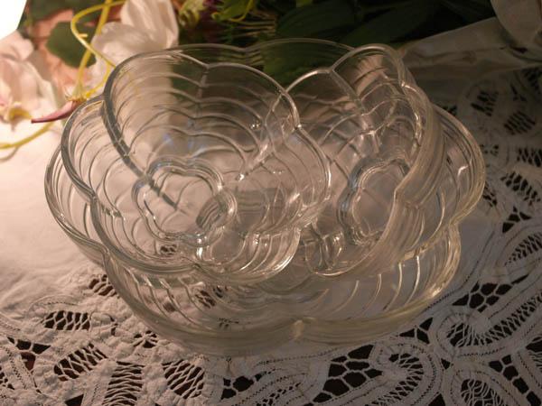 画像5: クリアガラス 花形ボウル セット (大x1、小x2)