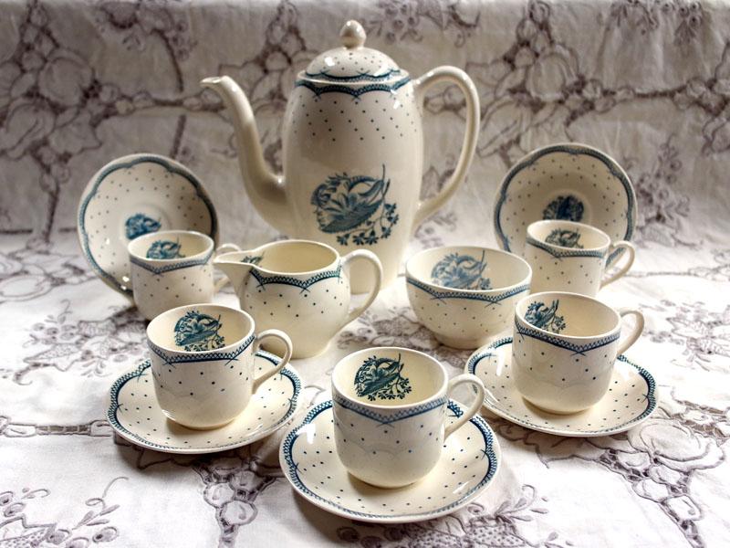 画像1: グレイ社Gray's Pottery デミ カップ&ソーサー5客+ジャグ+シュガーボール+ポット