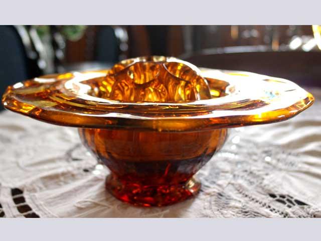 画像2: ガラス バーズ(花器) アンバーガラス