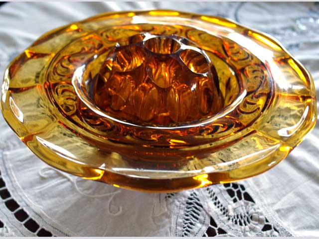 画像5: ガラス バーズ(花器) アンバーガラス