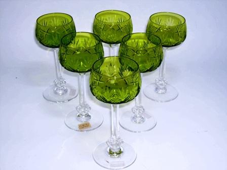 画像1: グラス ワイングラス ライムグリーン(6ヶ)セット