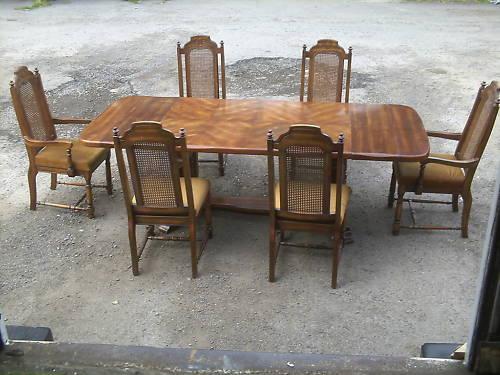 画像1: ダイニング テーブル(伸長式)+チェアー6脚セット