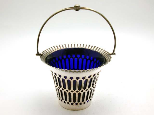 画像1: シルバープレート ボンボン・ディッシュ ブルー・ガラス