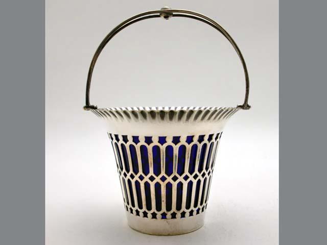 画像2: シルバープレート ボンボン・ディッシュ ブルー・ガラス