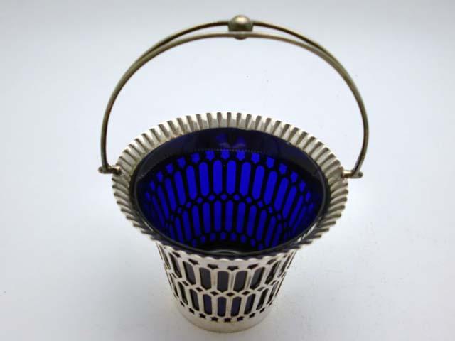 画像3: シルバープレート ボンボン・ディッシュ ブルー・ガラス