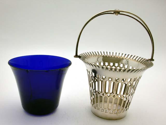 画像4: シルバープレート ボンボン・ディッシュ ブルー・ガラス
