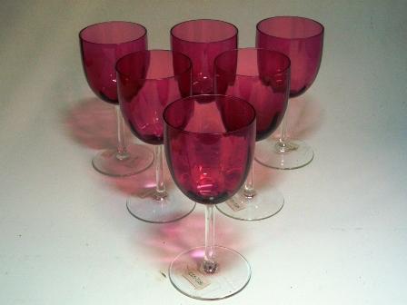 画像1: ワイングラス クランベリー 6個セット