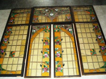 画像1: ステンドグラス セット(ローズ)7枚セット