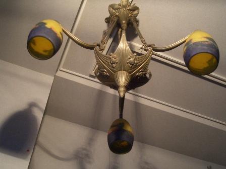 画像1: アールヌーボー シャンデリア3灯 ミューラ兄弟