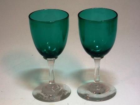 画像1: グラス シェリーグラス グリーン 1個