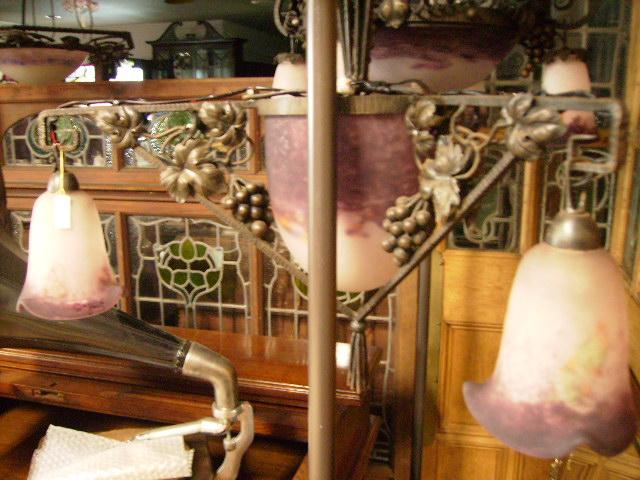画像2: アールヌーボー様式 ハンギングランプ 大1灯&小3灯 デュゲ